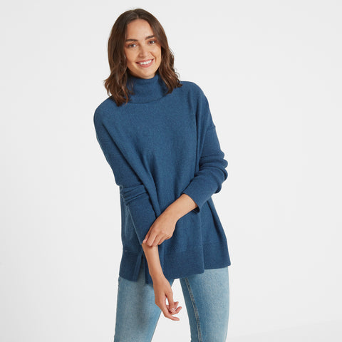 Alana Womens Light Roll Neck Jumper - Atlantic Blue Marl