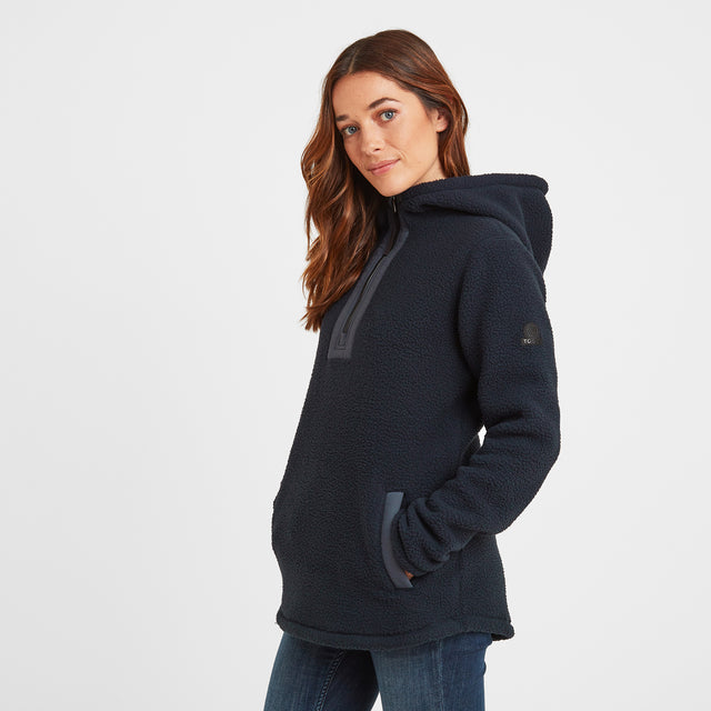 Albones Womens Sherpa Fleece Hooded Zipneck - Dark Indigo image 1