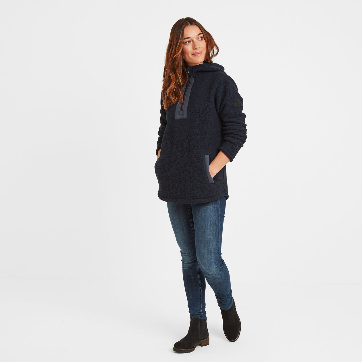 Albones Womens Sherpa Fleece Hooded Zipneck - Dark Indigo image 4