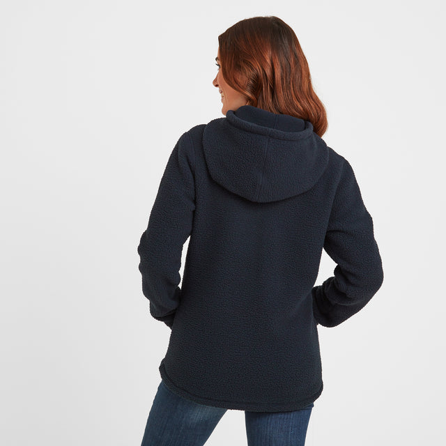 Albones Womens Sherpa Fleece Hooded Zipneck - Dark Indigo image 2