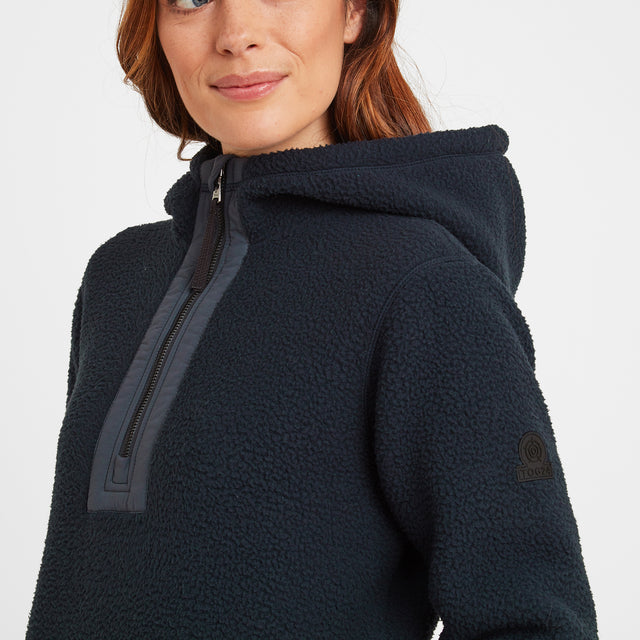 Albones Womens Sherpa Fleece Hooded Zipneck - Dark Indigo image 3