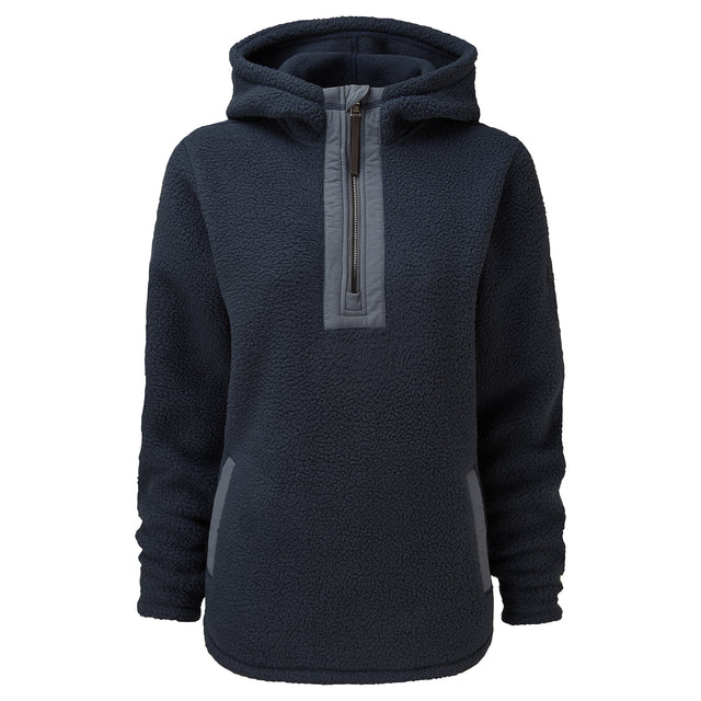 Albones Womens Sherpa Fleece Hooded Zipneck - Dark Indigo image 5