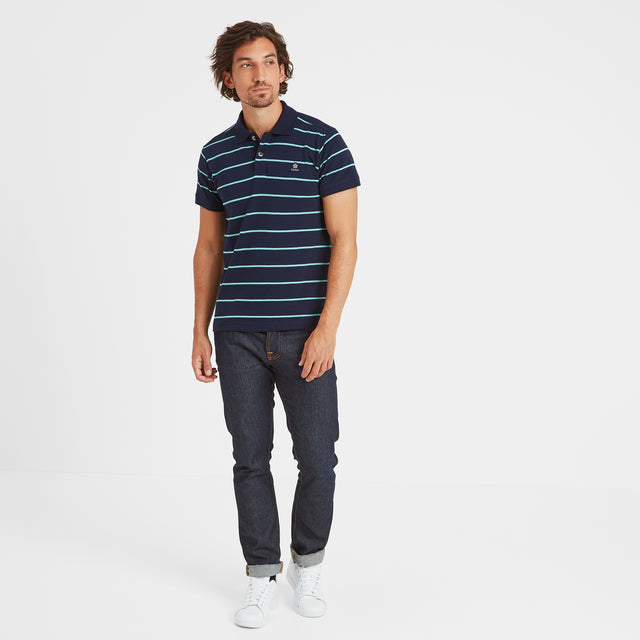 Alfie Mens Stripe Polo Shirt - Navy image 2
