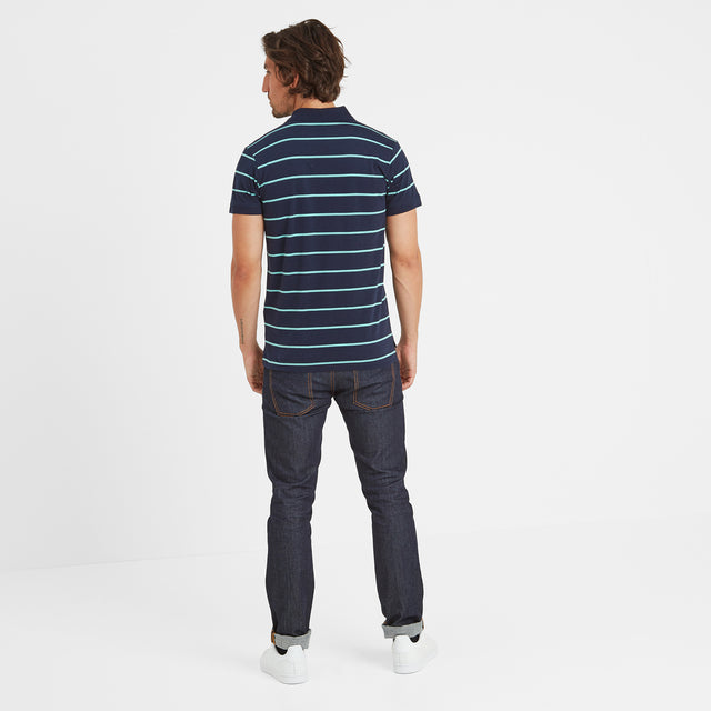 Alfie Mens Stripe Polo Shirt - Navy image 3