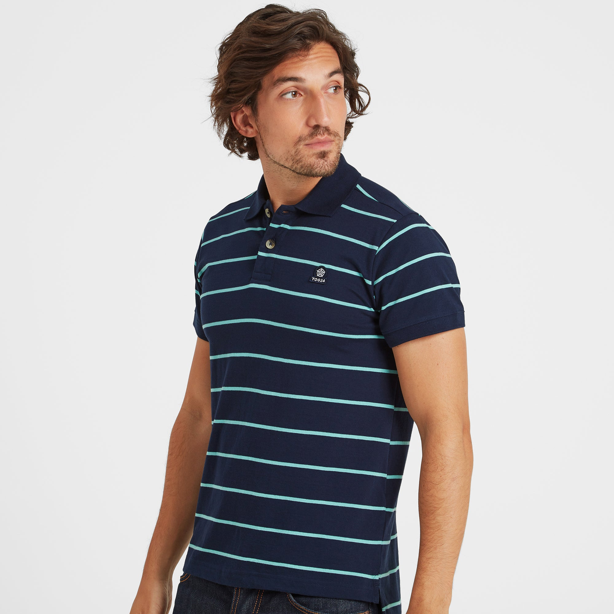 Alfie Mens Stripe Polo Shirt - Navy