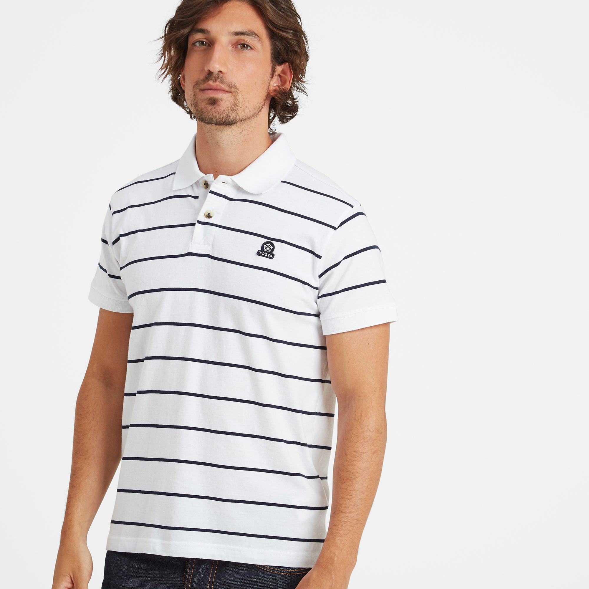 Alfie Mens Stripe Polo Shirt - White