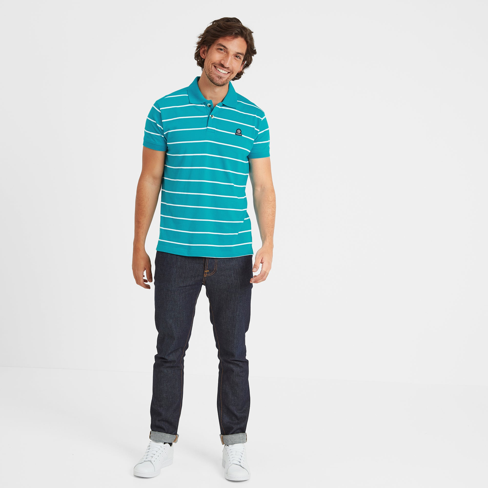 Alfie Mens Stripe Polo Shirt - Blue Jewel