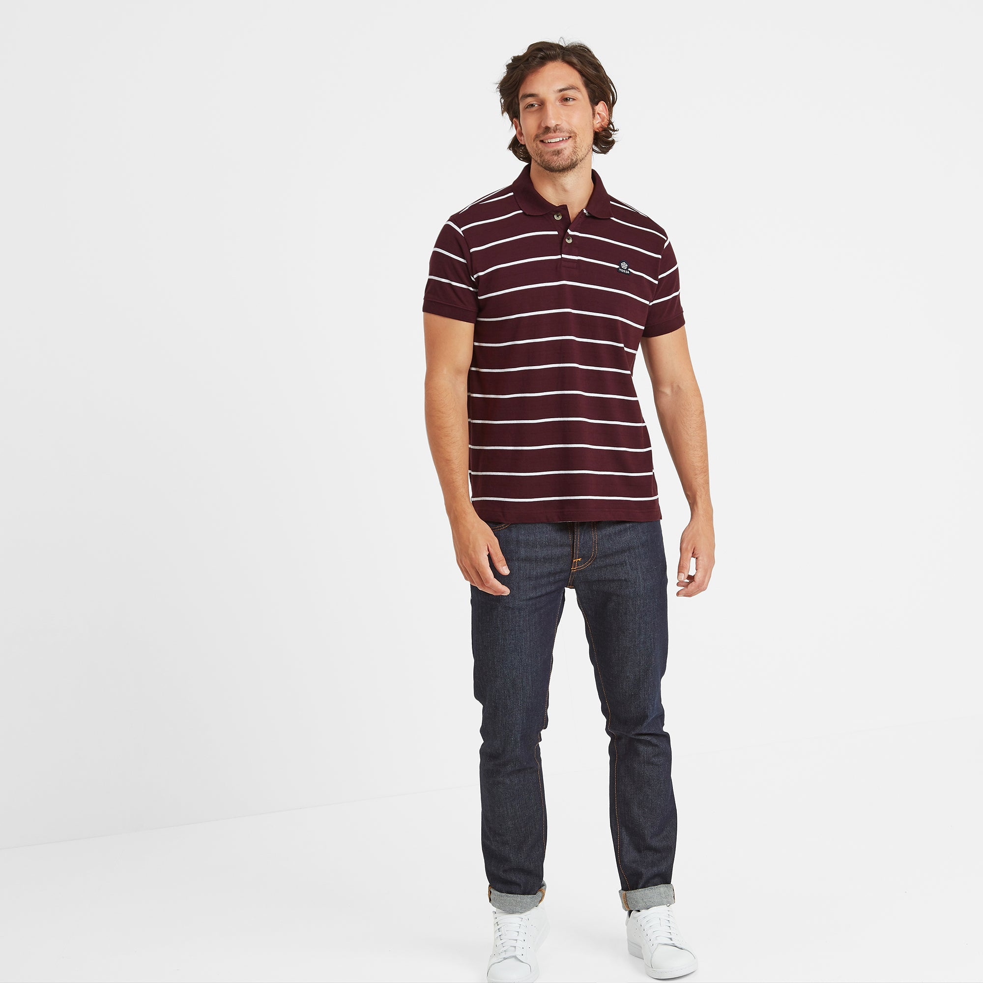 Alfie Mens Stripe Polo Shirt - Deep Port