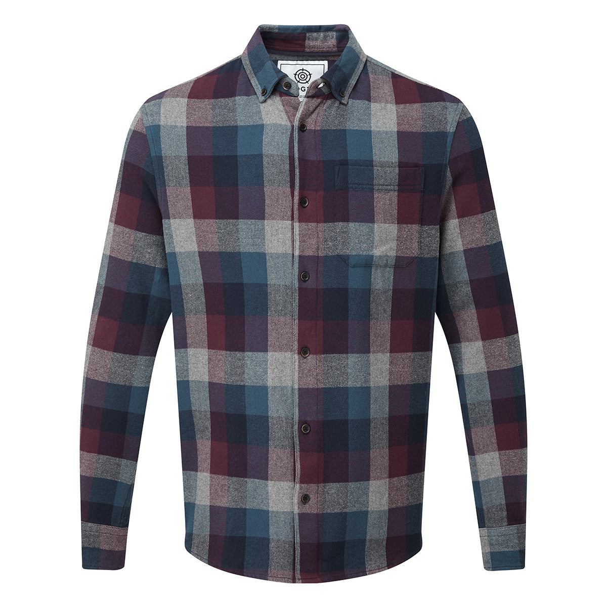 Alfred Mens Long Sleeve Flannel Check Shirt - Deep Port Marl image 4