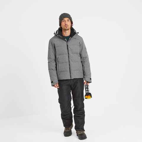 Allerton Mens Down Quilted Ski Jacket - Grey Marl