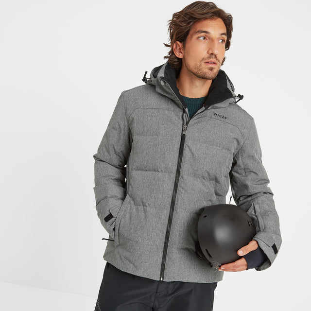 Allerton Mens Down Quilted Ski Jacket - Grey Marl image 1