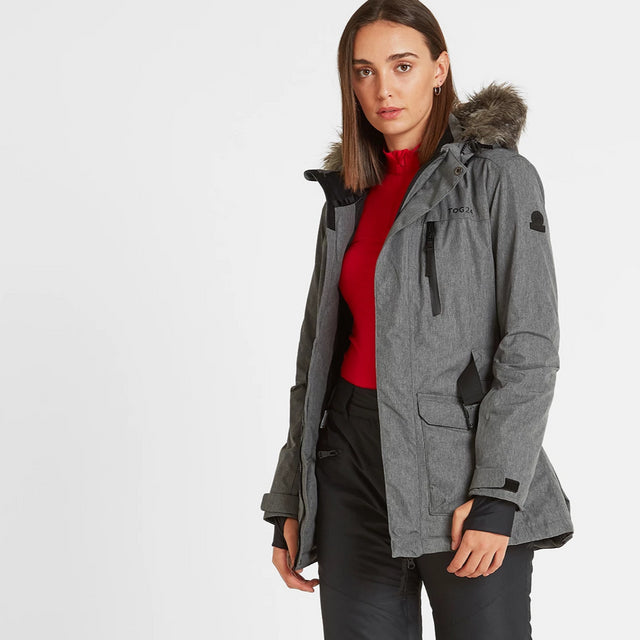 Aria Womens Waterproof Insulated Ski Jacket - Grey Marl image 1