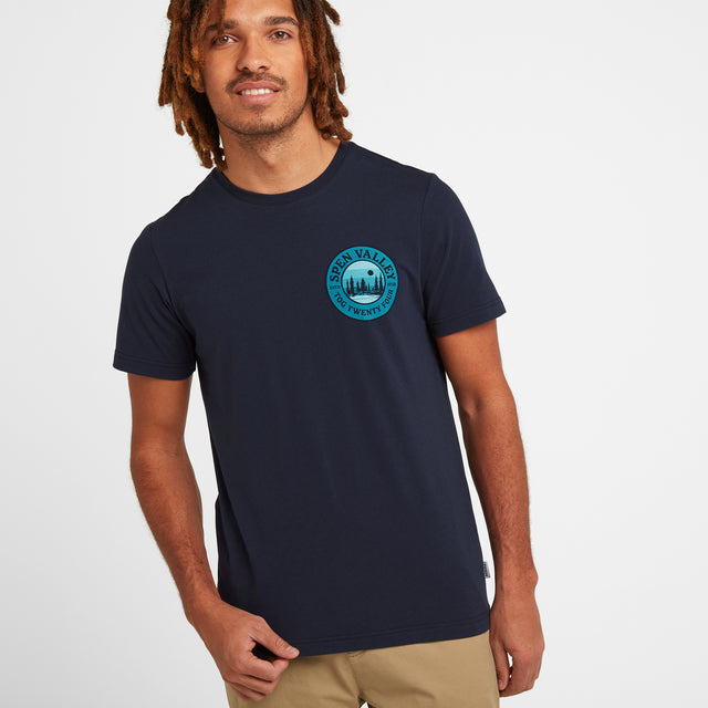 Armitage Mens Mountain Graphic T-Shirt - Navy image 1