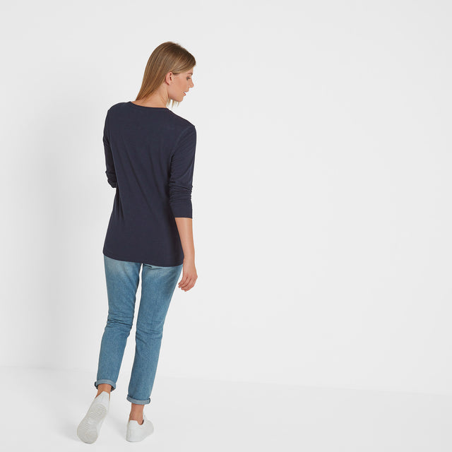 Askwith Womens Long Sleeve Pocket T-Shirt - Navy image 3