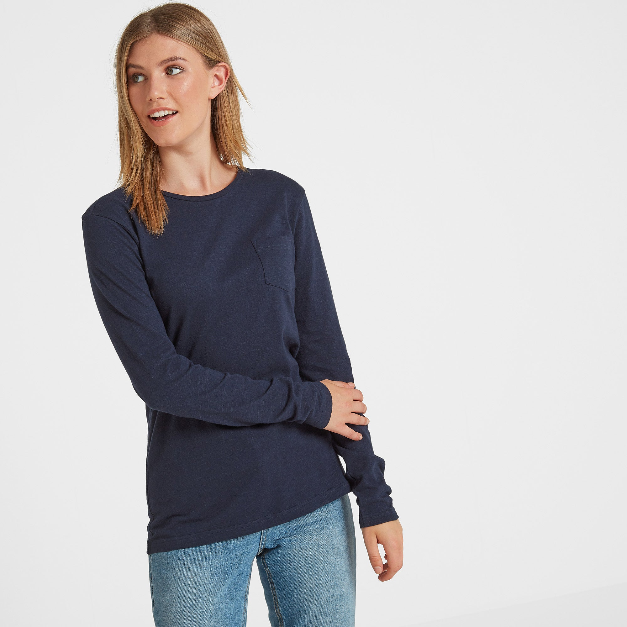 Askwith Womens Long Sleeve Pocket T-Shirt - Navy
