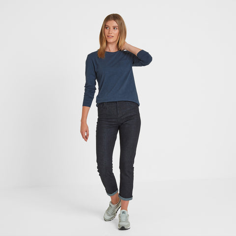 Askwith Womens Long Sleeve Pocket T-Shirt - Blue