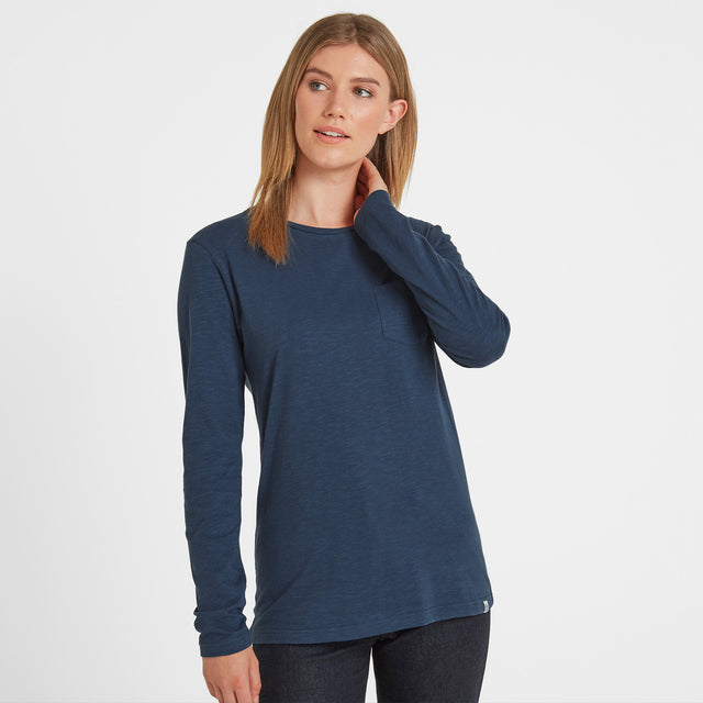 Askwith Womens Long Sleeve Pocket T-Shirt - Blue image 1