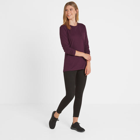 Askwith Womens Long Sleeve Pocket T-Shirt - Aubergine