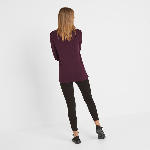 Askwith Womens Long Sleeve Pocket T-Shirt - Aubergine image 3