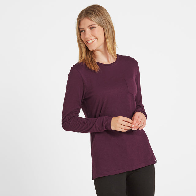 Askwith Womens Long Sleeve Pocket T-Shirt - Aubergine image 1
