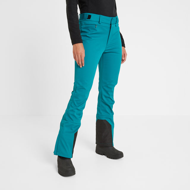 Aubree Womens Fitted Softshell Ski Pants Short - Topaz image 1