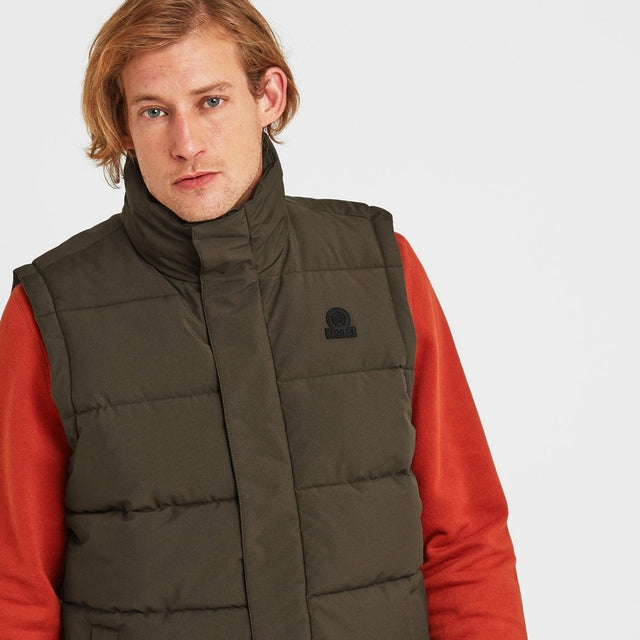 Barmston Mens Insulated Gilet - Dark Khaki image 1