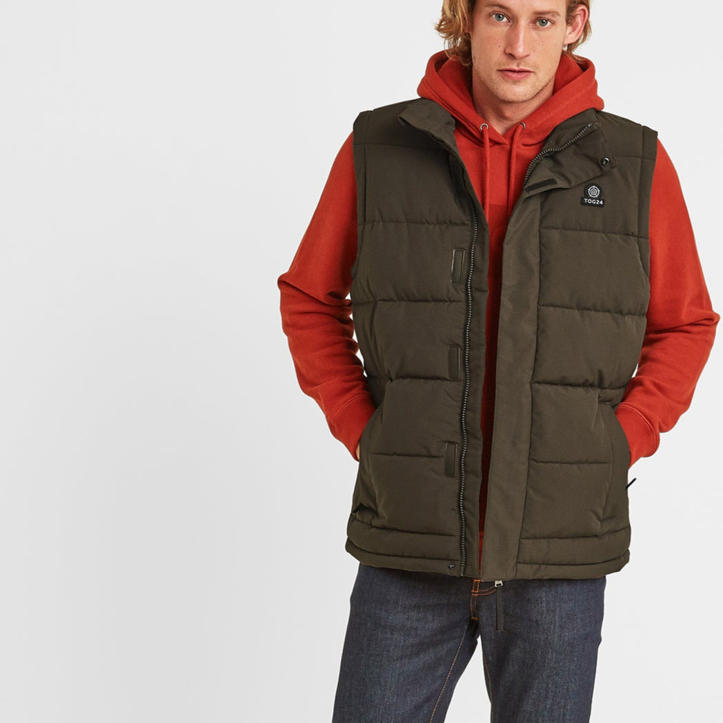 Barmston Mens Insulated Gilet - Dark Khaki image 4