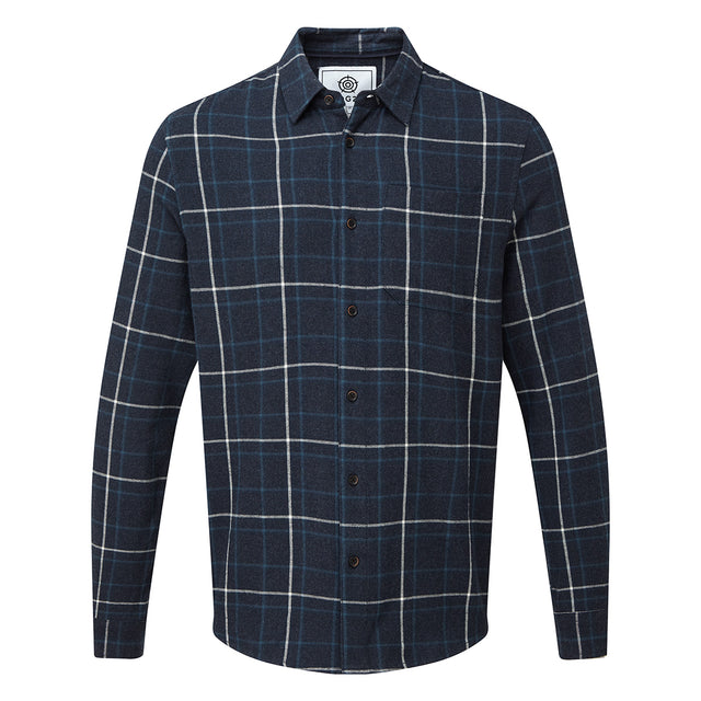 Barney Mens Long Sleeve Flannel Check Shirt - Navy Marl image 3