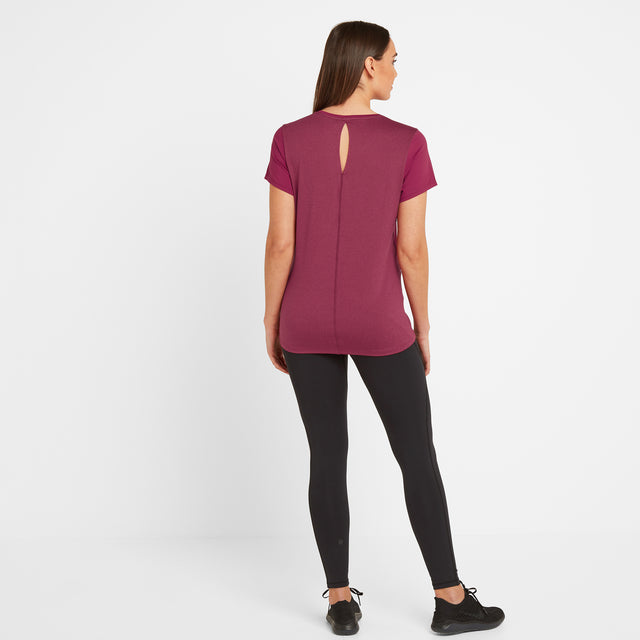 Barton Womens Tech T-Shirt - Sangria image 2