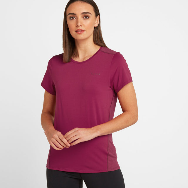 Barton Womens Tech T-Shirt - Sangria image 1