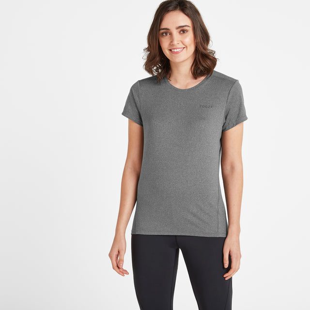 Barton Womens Tech T-Shirt - Dark Grey Marl image 1