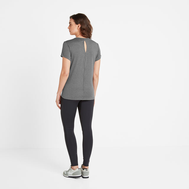 Barton Womens Tech T-Shirt - Dark Grey Marl image 2
