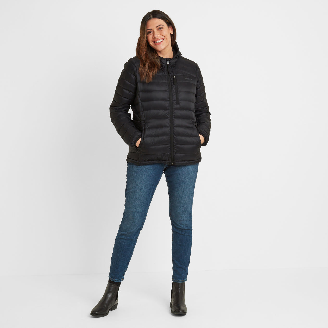 Base Womens Hooded Down Jacket - Coal Grey image 8