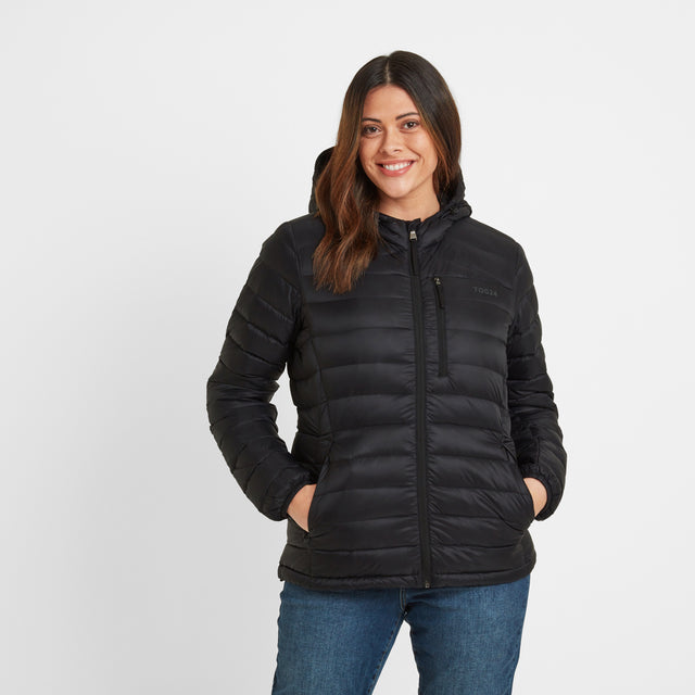 Base Womens Hooded Down Jacket - Coal Grey image 5
