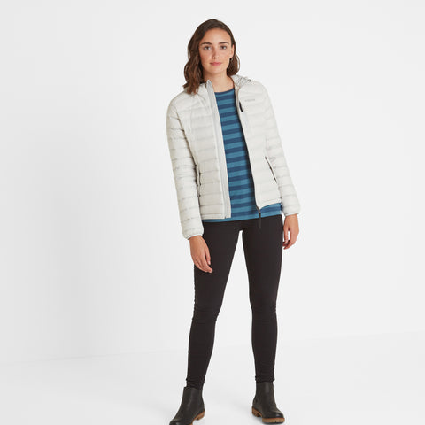 Base Womens Hooded Down Jacket - Ice Grey