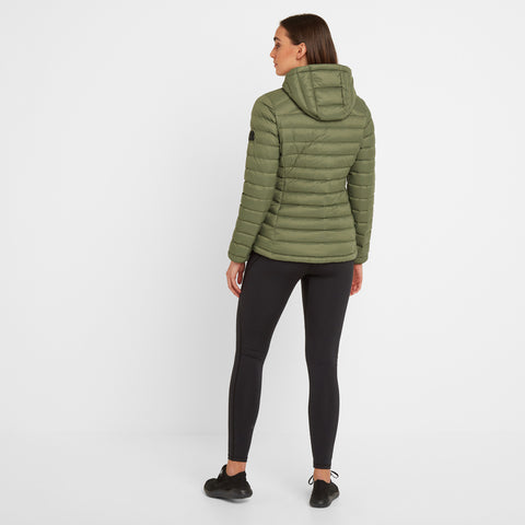 Base Womens Hooded Down Jacket - Light Khaki