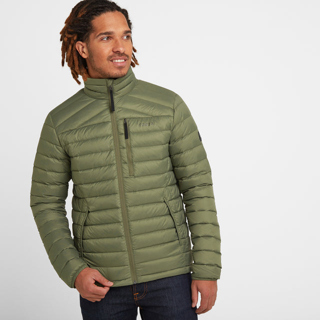 Base Mens Funnel Down Jacket - Light Khaki image 1