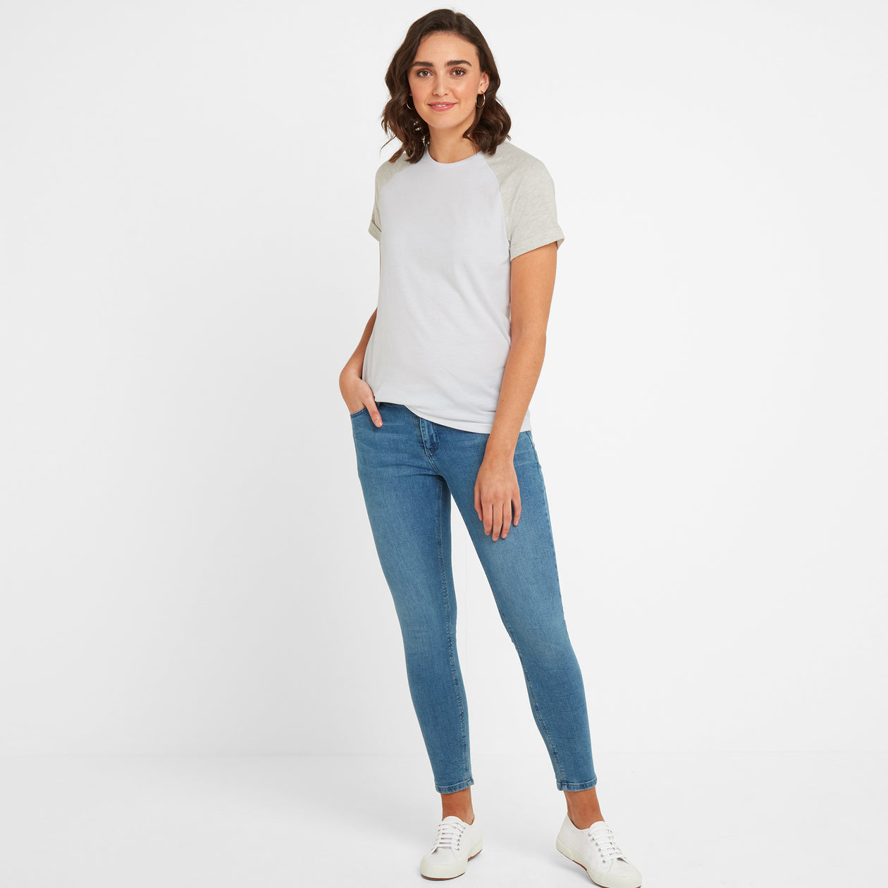 Belby Womens Raglan T-Shirt - Optic White/Oatmeal Marl image 4