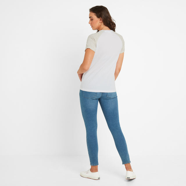Belby Womens Raglan T-Shirt - Optic White/Oatmeal Marl image 2