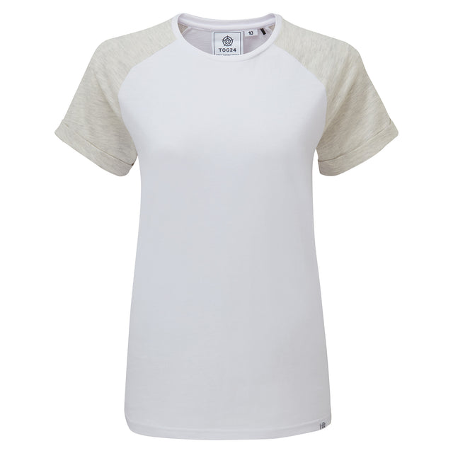 Belby Womens Raglan T-Shirt - Optic White/Oatmeal Marl image 3