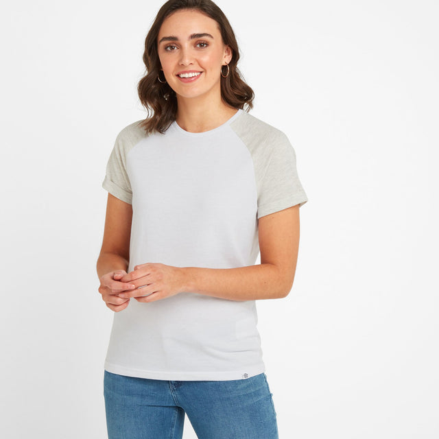 Belby Womens Raglan T-Shirt - Optic White/Oatmeal Marl image 1