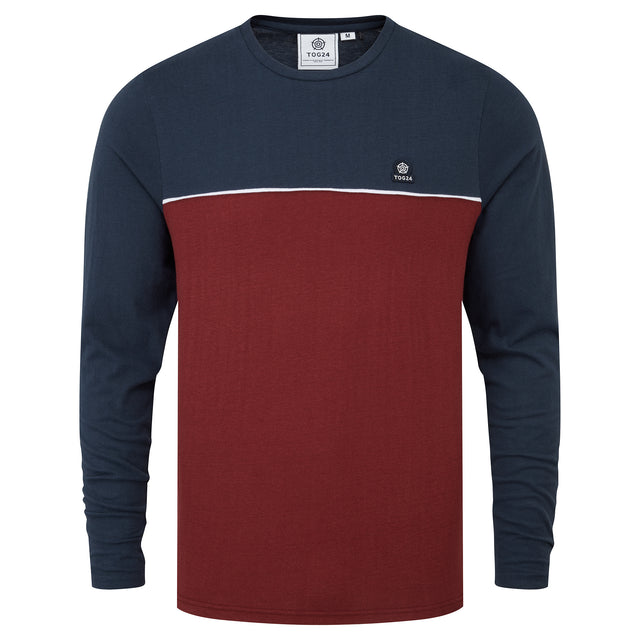 Benjamin Mens Long Sleeve Colourblock T-Shirt - Maroon