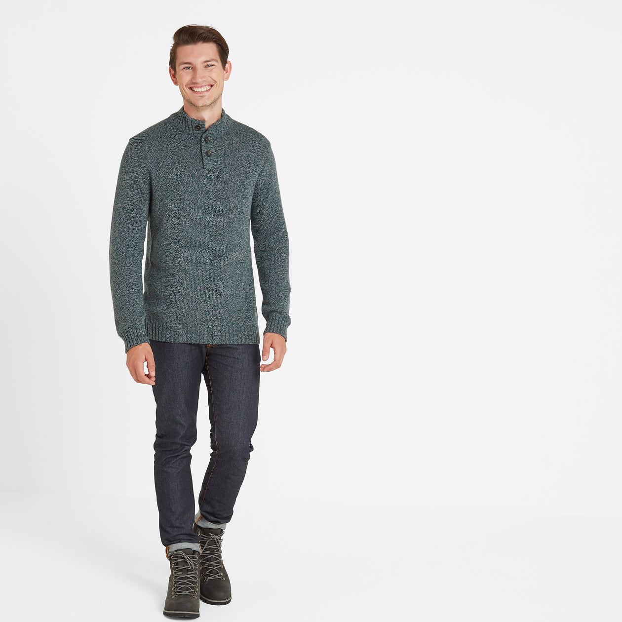 Bert Mens Button Funnel Neck Jumper - Forest Marl image 4