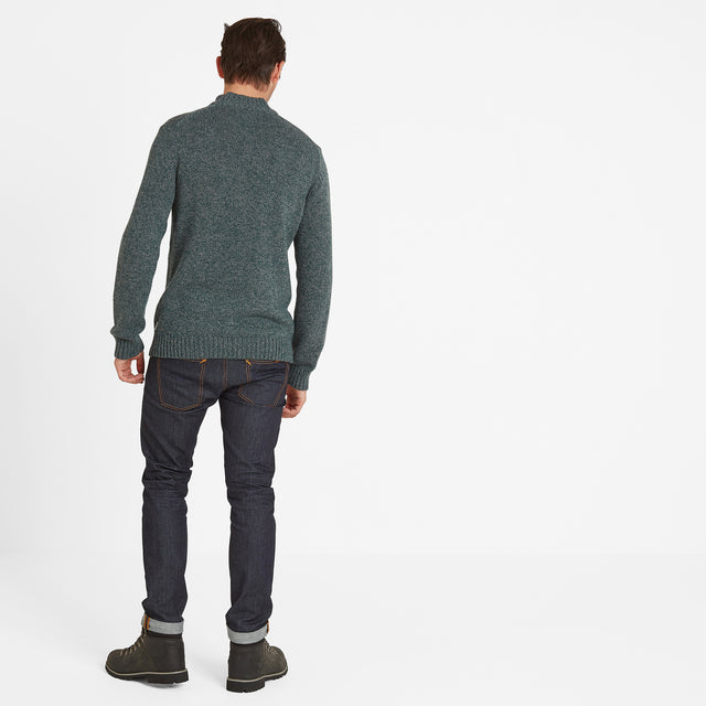 Bert Mens Button Funnel Neck Jumper - Forest Marl image 2