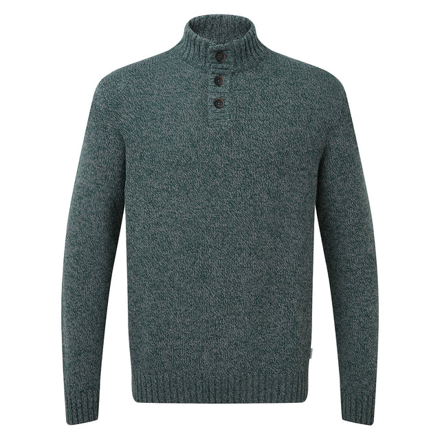 Bert Mens Button Funnel Neck Jumper - Forest Marl image 3