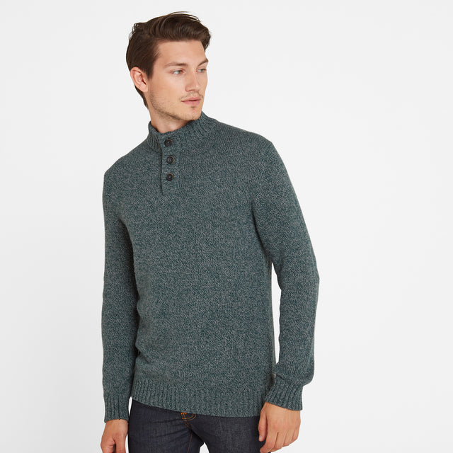 Bert Mens Button Funnel Neck Jumper - Forest Marl image 1