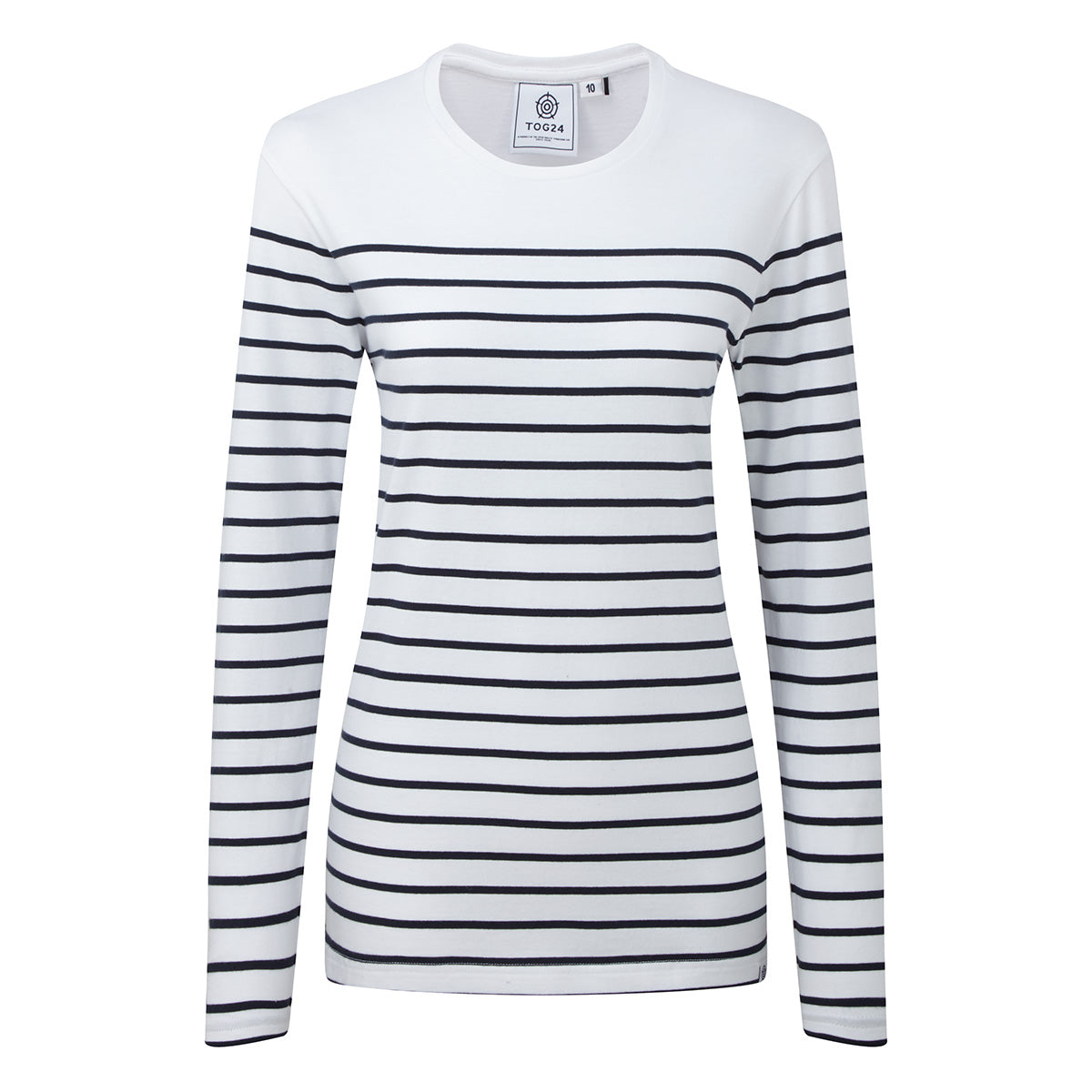 Betsy Womens Long Sleeve Stripe T-Shirt - White/Indigo image 4