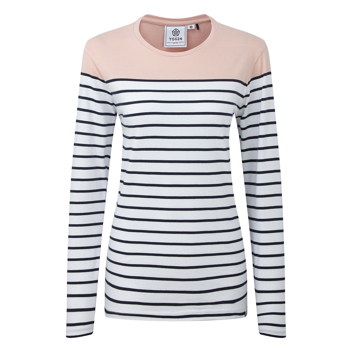 Betsy Womens Long Sleeve Stripe T-Shirt - Rose/White/Indigo image 4