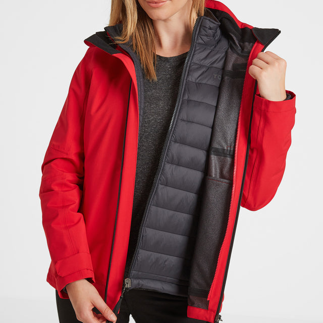 Beverley Womens Waterproof 3-In-1 Jacket - Rouge Red image 3