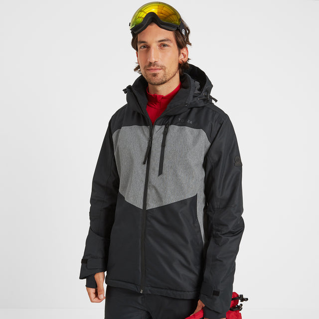Blade Mens Waterproof Insulated Ski Jacket - Black/Grey Marl image 1